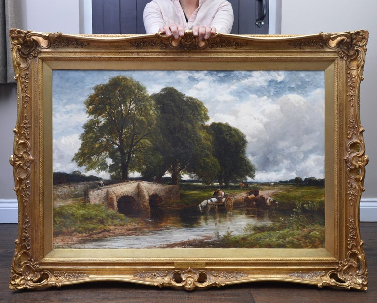Crossing the Stour - Large 19th Century English Landscape Oil Painting   - Brown Animal Painting by Edmund Wimperis
