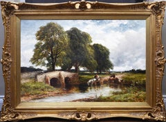 Crossing the Stour - Large 19th Century English Landscape Oil Painting