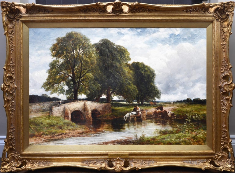 Edmund Wimperis Animal Painting - Crossing the Stour - Large 19th Century English Landscape Oil Painting