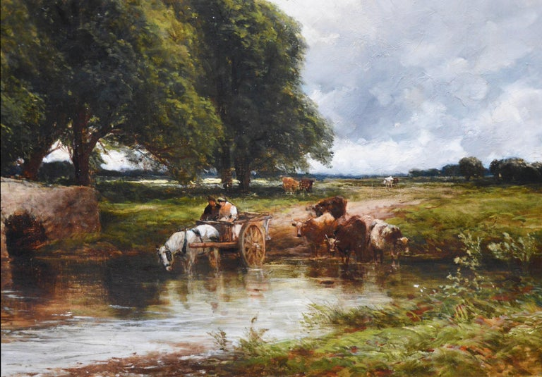 Crossing the Stour - Large 19th Century English Landscape Oil Painting   1