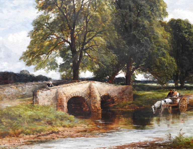Crossing the Stour - Large 19th Century English Landscape Oil Painting   2