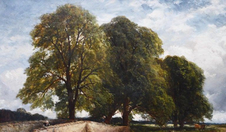 Crossing the Stour - Large 19th Century English Landscape Oil Painting   4