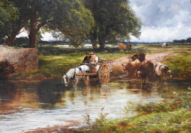 Crossing the Stour - Large 19th Century English Landscape Oil Painting   5