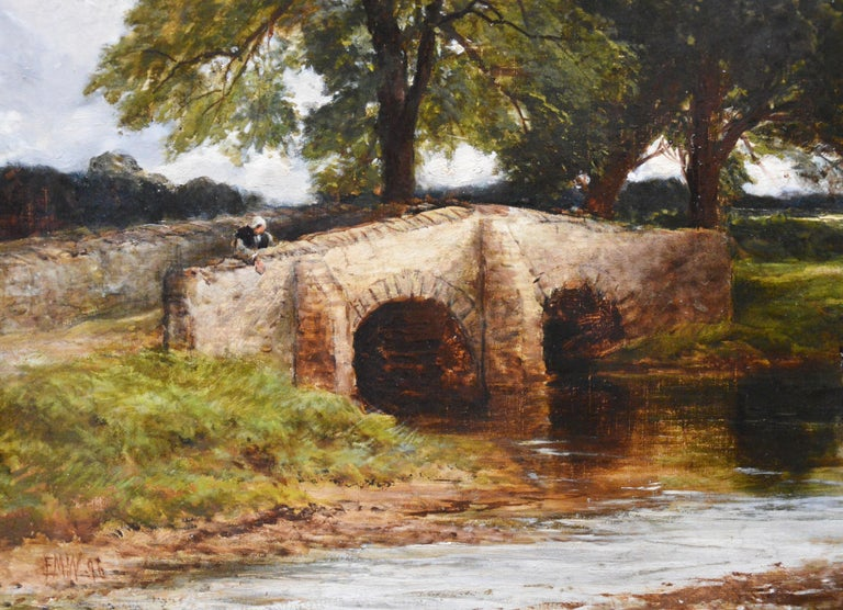 Crossing the Stour - Large 19th Century English Landscape Oil Painting   6