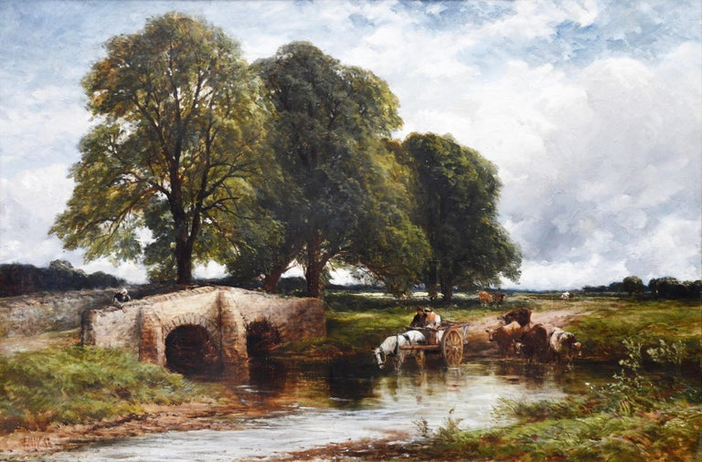 'Crossing the Stour' by Edmund Morison Wimperis RI RBA (1835-1900). A large 19th century oil on canvas of a horse and cart and cattle watering on the River Stour in Suffolk. The painting is signed by the artist and dated 1896, and hangs in a very