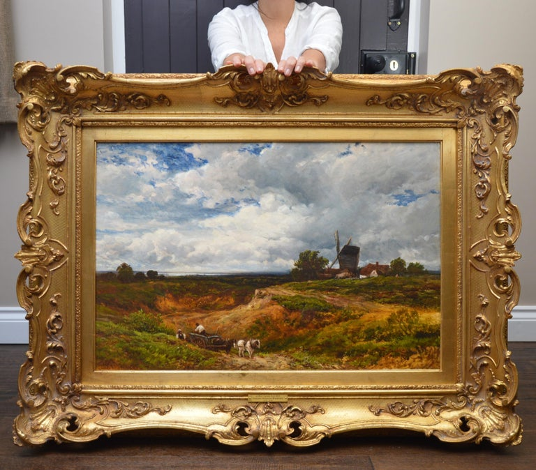 A West Sussex Post Mill - Large 19th Century English Landscape Oil Painting - Brown Landscape Painting by Edmund Wimperis