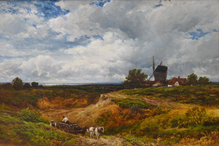 'A West Sussex Post Mill' by Edmund Morison Wimperis (1835-1900).  A very large fine 19th century landscape oil on canvas by the eminent Victorian landscape painter Edmund Morison Wimperis. The painting is signed by the artist and hangs in a superb