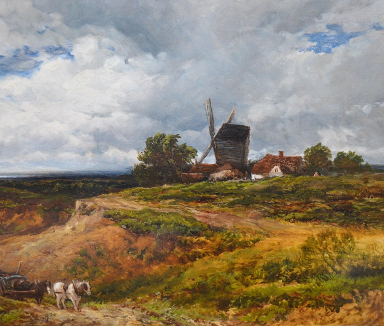 A West Sussex Post Mill - Large 19th Century English Landscape Oil Painting For Sale 1