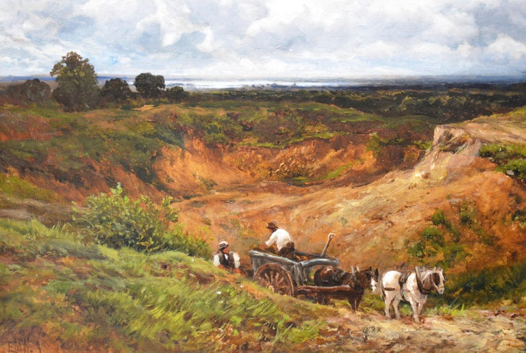 A West Sussex Post Mill - Large 19th Century English Landscape Oil Painting For Sale 2