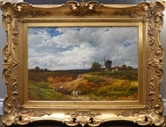 A West Sussex Post Mill - Large 19th Century English Landscape Oil Painting
