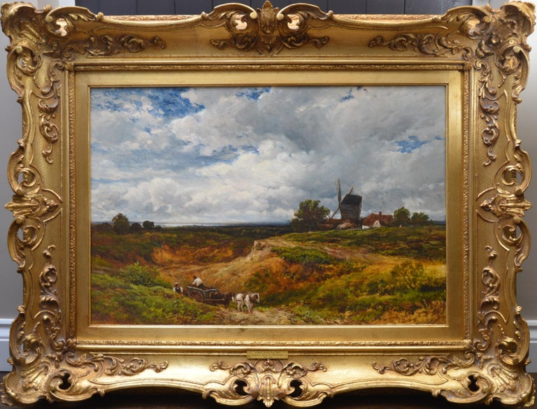 Edmund Wimperis Landscape Painting - A West Sussex Post Mill - Large 19th Century English Landscape Oil Painting