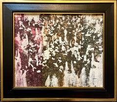 Miami, Florida Modernist Artist Edna Glaubman 1968 Oil Painting Abstract Figures