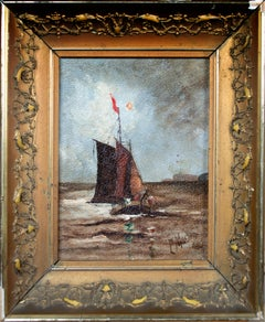 'Seascape with Sailboat' original oil painting attributed to Edna McKeage