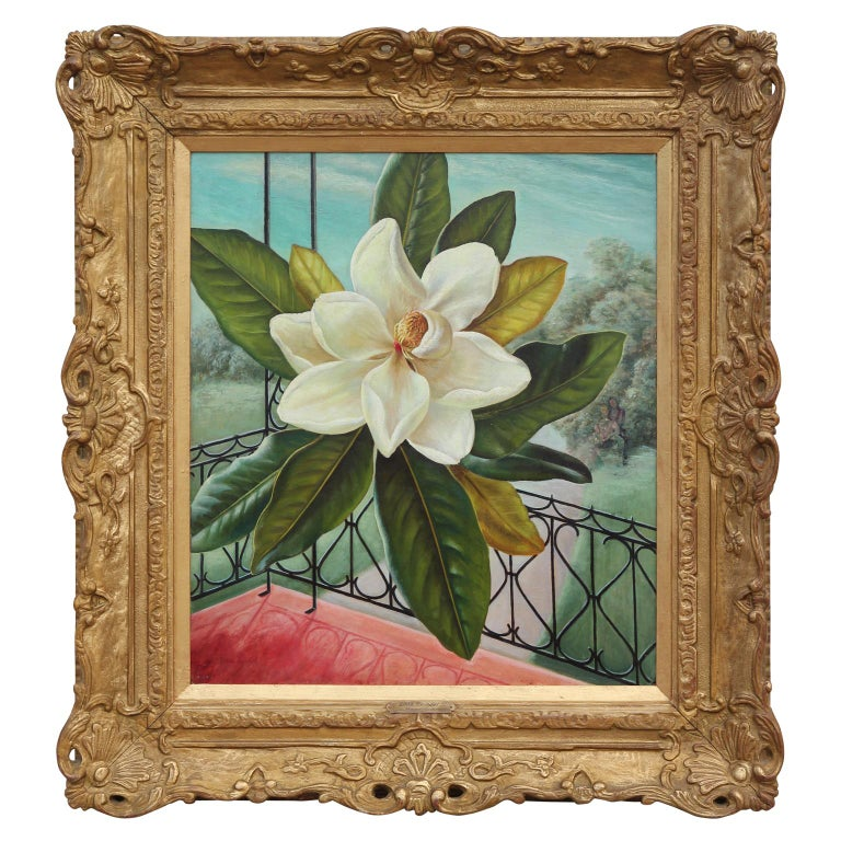 The colorful oil painting includes a depiction of a Southern Magnolia flower in the center of the composition.  Believed to have been featured in the 1947 John Morrell Company Calendar, in which they contracted Edna Reindel to do a series titled