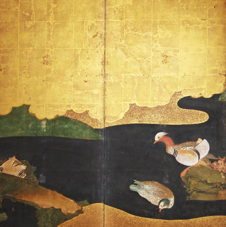 Edo 18th Century Japanese Folding Screen Six Panels Golden Leaf Mandarina Duck In Good Condition For Sale In Brescia, IT