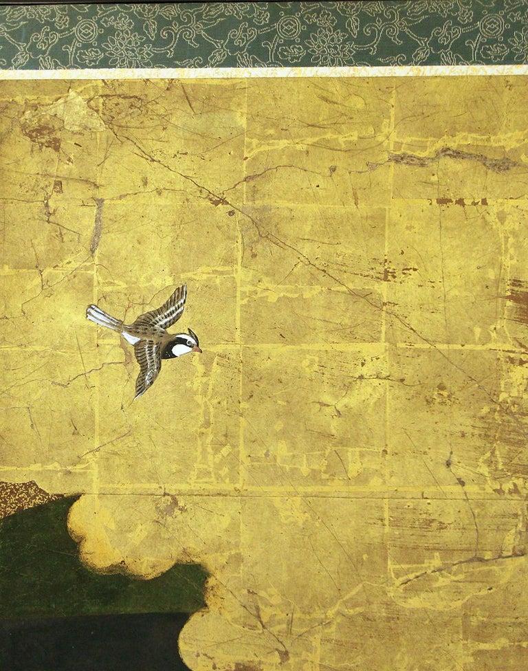 Gold Leaf Edo 18th Century Japanese Folding Screen Six Panels Golden Leaf Mandarina Duck For Sale