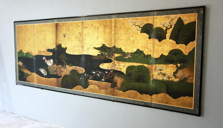 Edo 18th Century Japanese Folding Screen Six Panels Golden Leaf Mandarina Duck For Sale 1