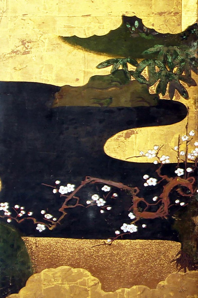 Edo 18th Century Japanese Folding Screen Six Panels Golden Leaf Mandarina Duck For Sale 2