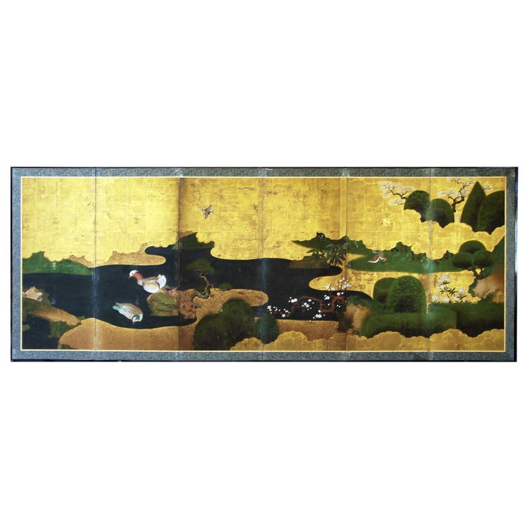 Edo 18th Century Japanese Folding Screen Six Panels Golden Leaf Mandarina Duck For Sale