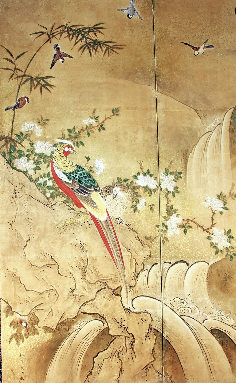 Edo 18th Century Two Panels Japanese Folding Screen Inks, Pigments on Rise Paper In Good Condition For Sale In Brescia, IT