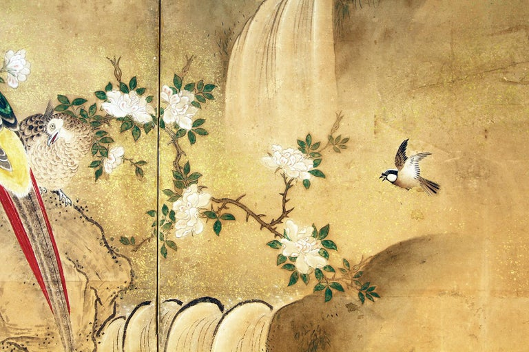 Gold Edo 18th Century Two Panels Japanese Folding Screen Inks, Pigments on Rise Paper For Sale