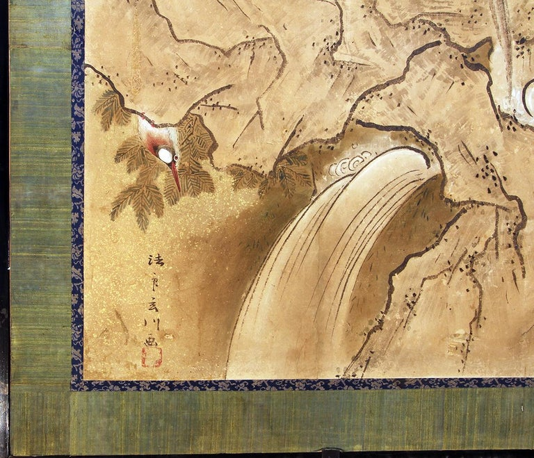Edo 18th Century Two Panels Japanese Folding Screen Inks, Pigments on Rise Paper For Sale 1