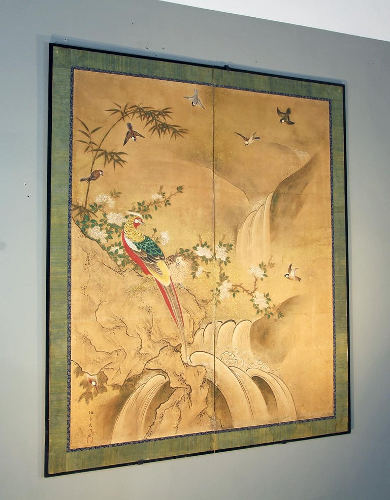 Edo 18th Century Two Panels Japanese Folding Screen Inks, Pigments on Rise Paper For Sale 2
