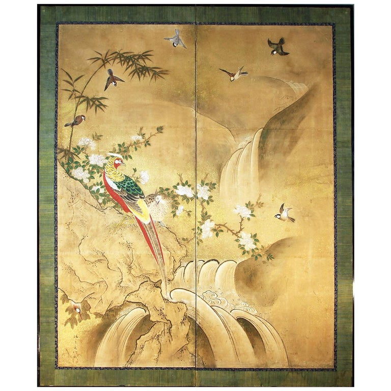 Edo 18th Century Two Panels Japanese Folding Screen Inks, Pigments on Rise Paper For Sale