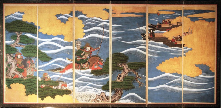 Samurai on horseback and by boat from the famous battle of Kawanakajima Japanese folding screen six-panel painted with mineral pigments on vegetable paper, early 19th century.