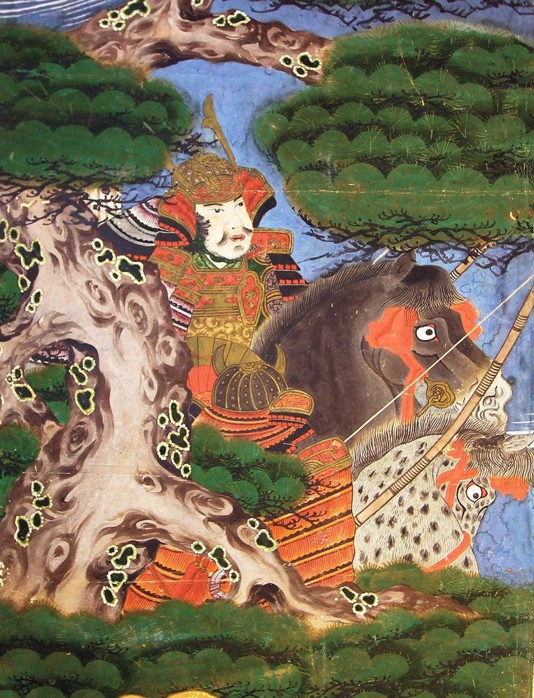 Painted Edo 19th Century Japanese Folding Screen Six Panels Battle of Kawanakajima For Sale