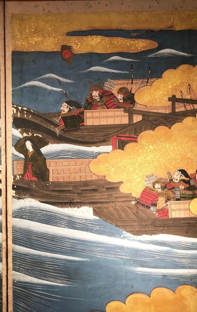 Paper Edo 19th Century Japanese Folding Screen Six Panels Battle of Kawanakajima For Sale