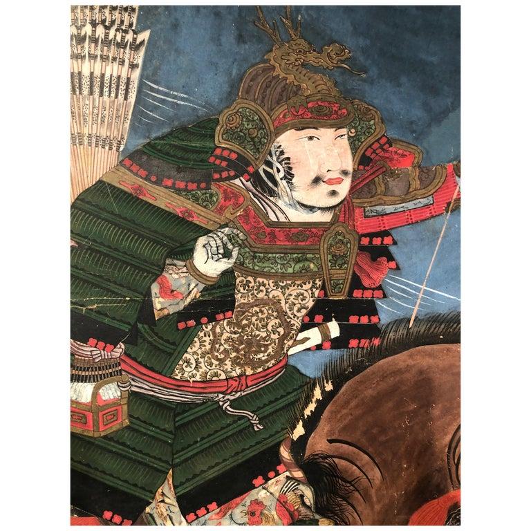 Edo 19th Century Japanese Folding Screen Six Panels Battle of Kawanakajima For Sale