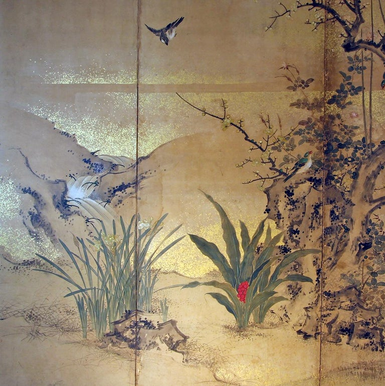 Edo 19th Century, Japanese Folding Screen Six Panels Hand Painted on Rise Paper In Good Condition For Sale In Brescia, IT