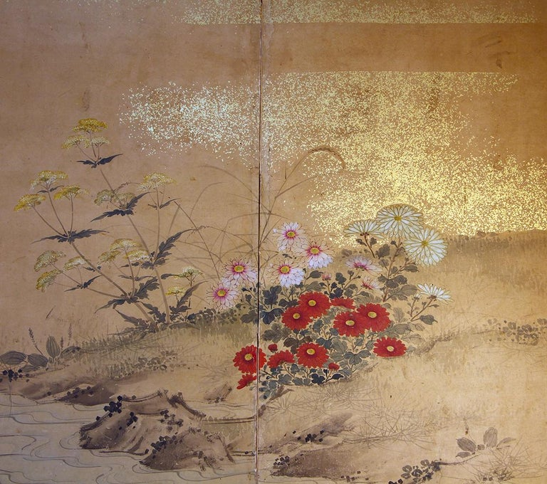 Gold Edo 19th Century, Japanese Folding Screen Six Panels Hand Painted on Rise Paper For Sale