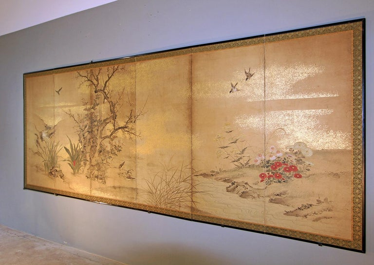 Edo 19th Century, Japanese Folding Screen Six Panels Hand Painted on Rise Paper For Sale 1