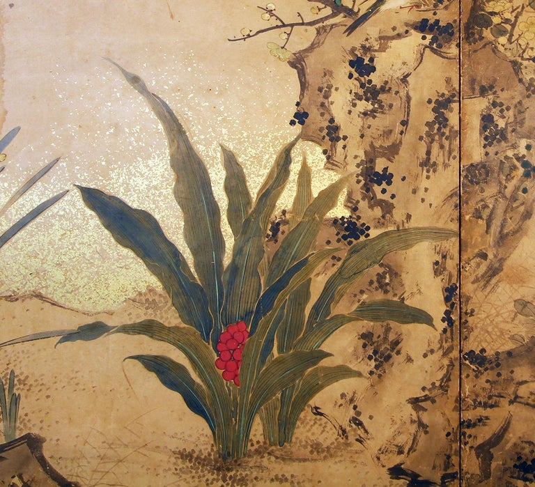 Edo 19th Century, Japanese Folding Screen Six Panels Hand Painted on Rise Paper For Sale 2
