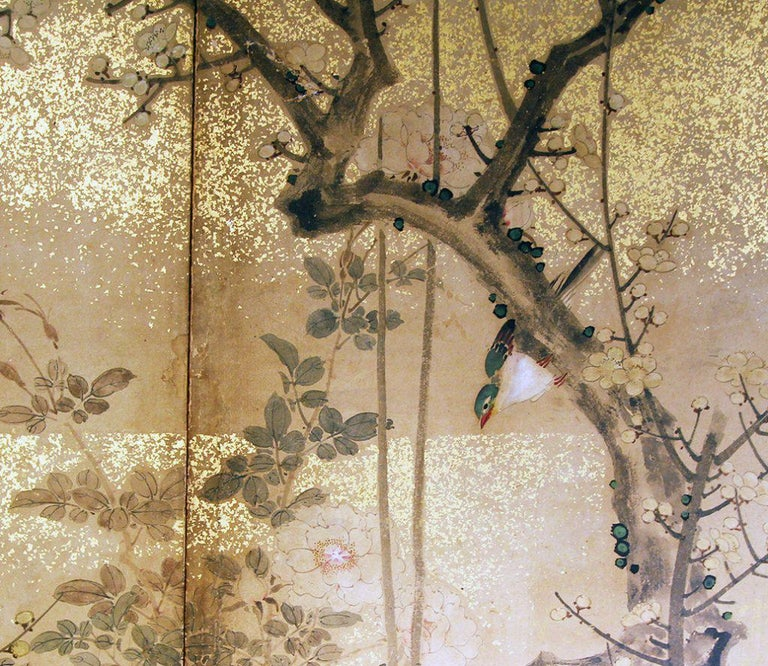 Edo 19th Century, Japanese Folding Screen Six Panels Hand Painted on Rise Paper For Sale 3