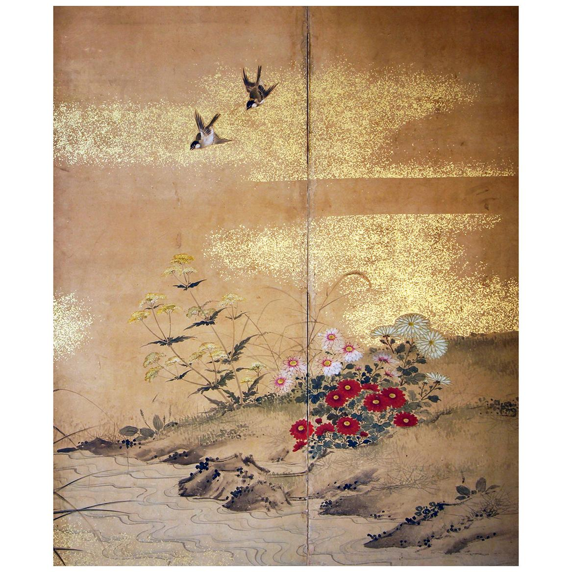 Edo 19th Century, Japanese Folding Screen Six Panels Hand Painted on Rise Paper