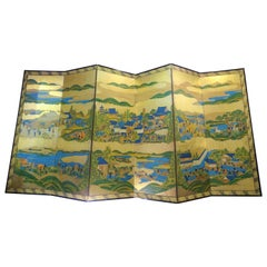 Edo Byobu Screen, Japanese Hand Painted and Gilded Six Paper Panels