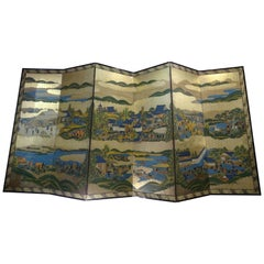 Edo Byobu Screen, Japanese Hand Painted and Gilded Six Paper Panels