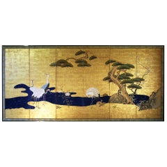 Edo, Early 19th Century, Japanese Folding Screen Six Panels Painted on Gold Leaf