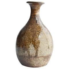 """Edo Period '1600s' Japanese Sake Bottle """"Karatsu Ware"""" / Antique Kintsugi Vase"""