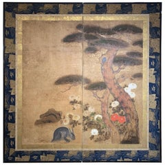 Edo Period '1615-1868' Pine Floral and Rabbit Screen