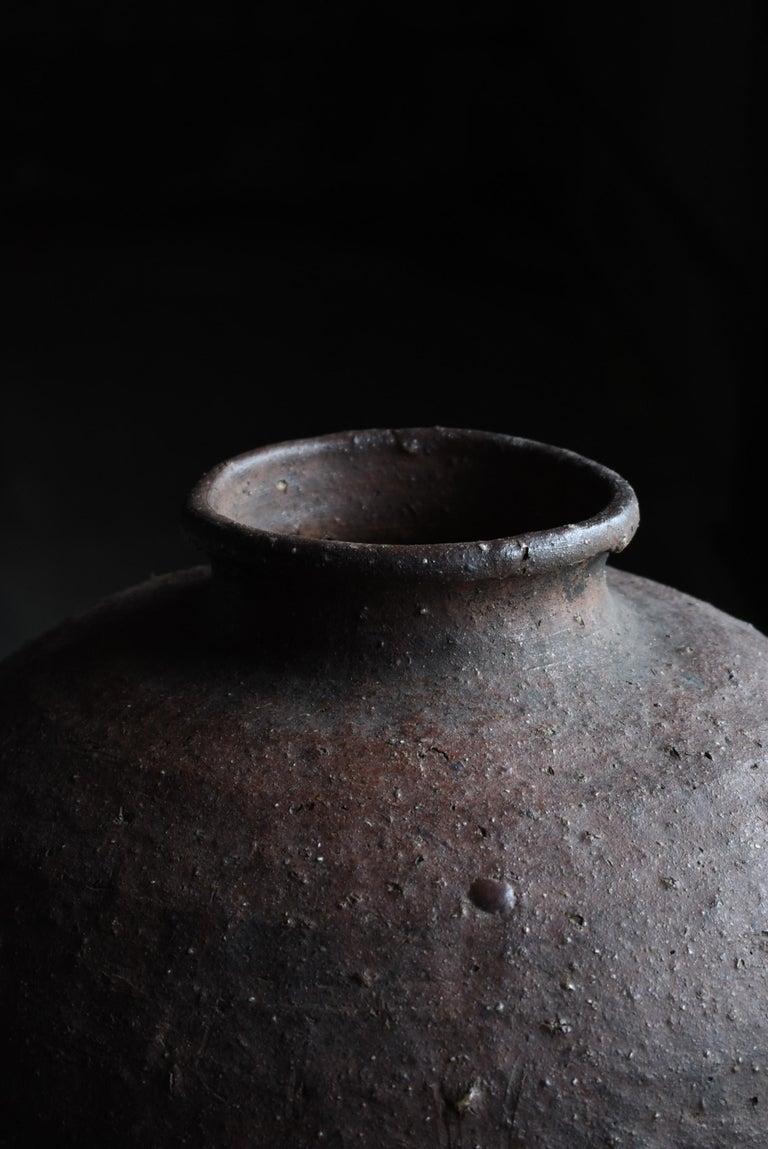 Edo Period 1700-1860 Japanese Tsubo Shigaraki Pottery Vase Pot Jar Ceramic In Distressed Condition In Sammushi, JP