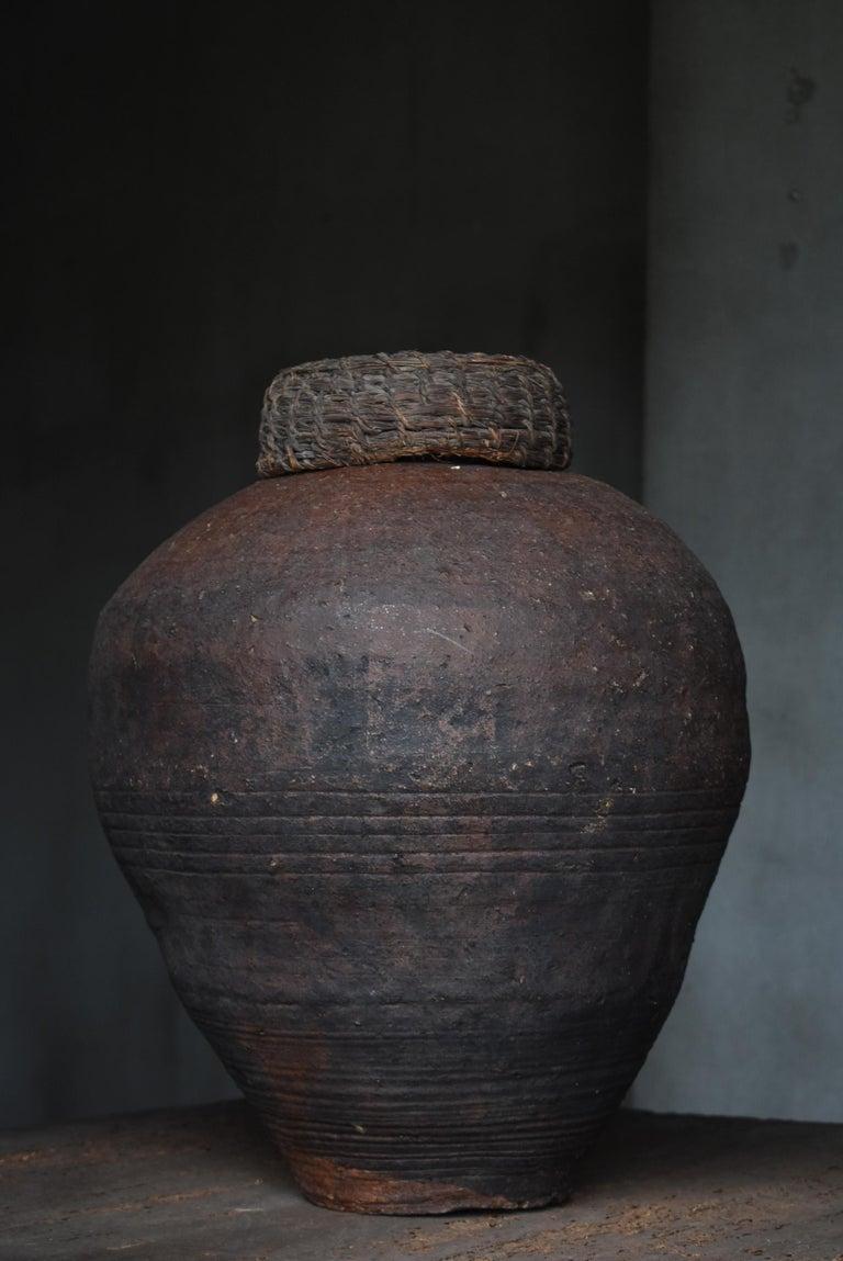 19th Century Edo Period 1700-1860 Japanese Tsubo Shigaraki Pottery Vase Pot Jar Ceramic