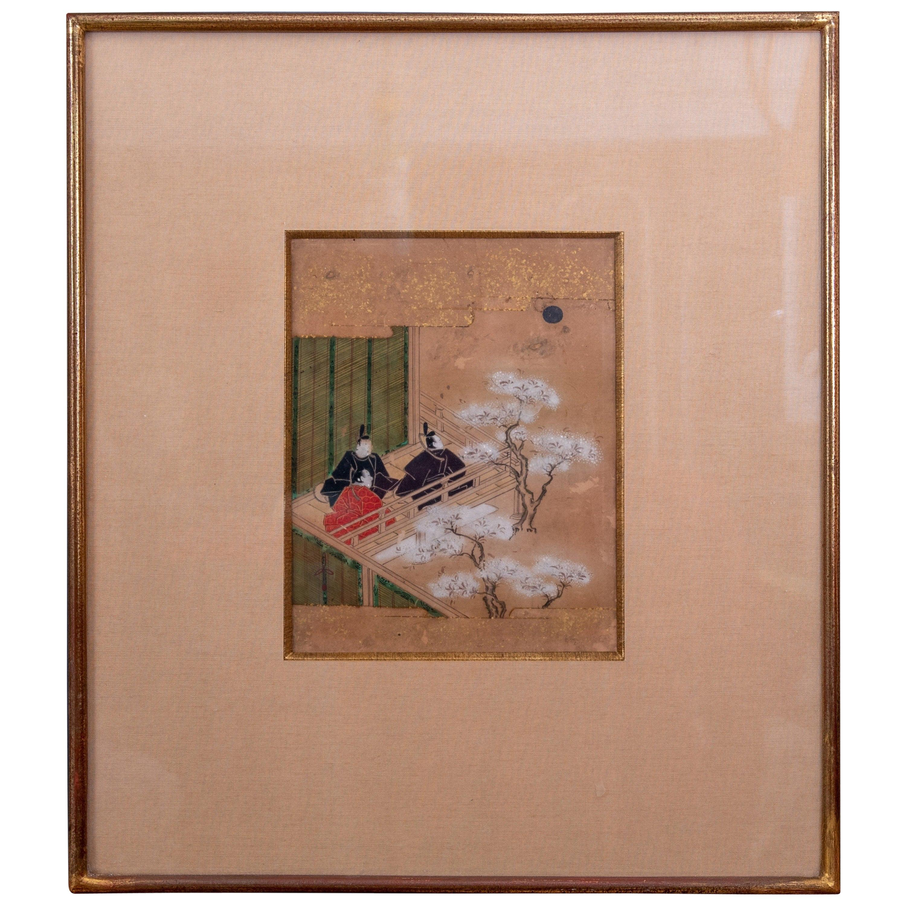 Edo Period Ink on Paper and Gilded Frame Japanese Painting