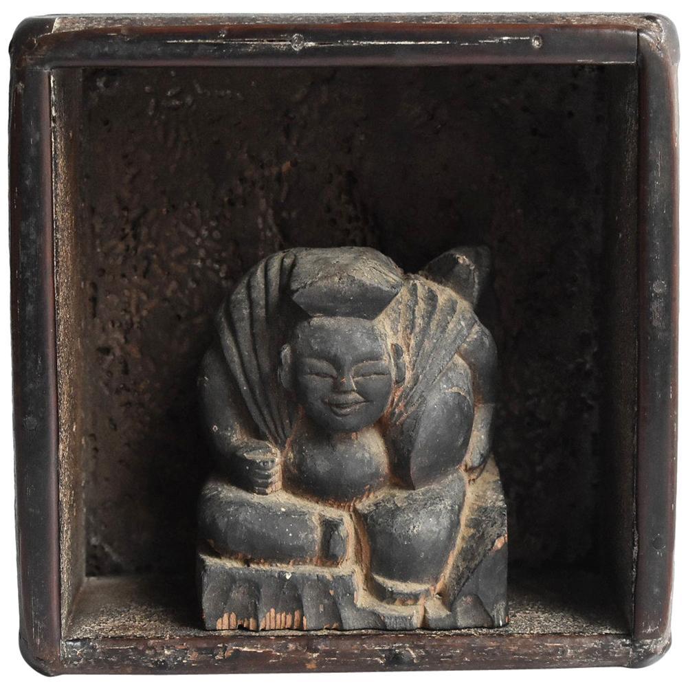 Edo Period Japanese Old Wooden Buddha Statue 'Ebisu' and Box 'Masu'