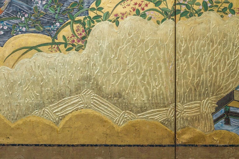 Edo Period Japanese Six Panel Screen Fall Into Winter For Sale 5