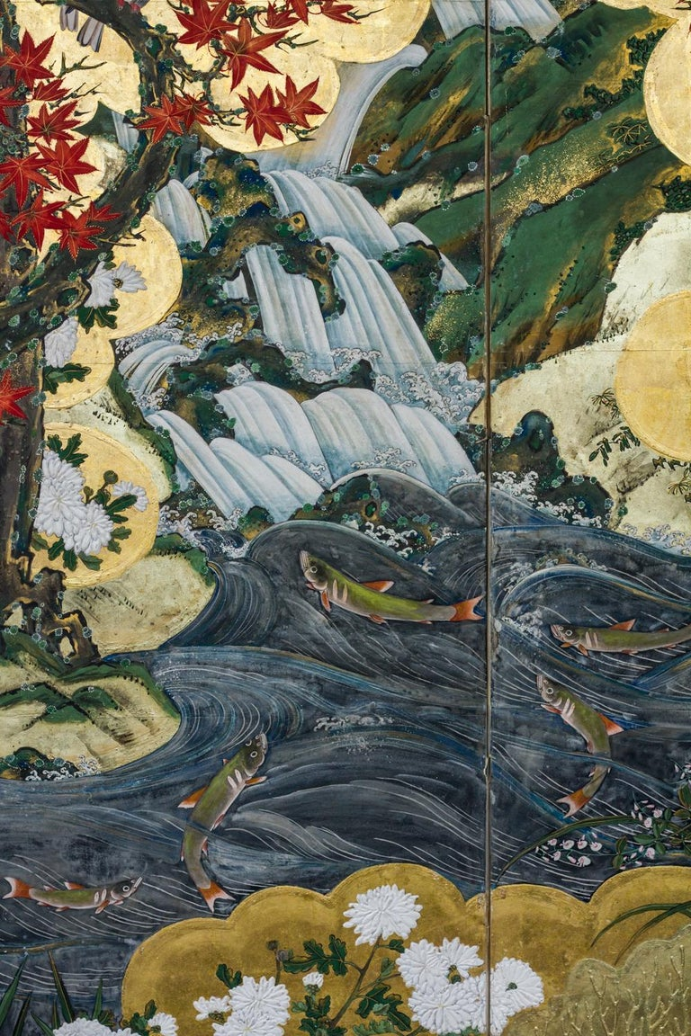 Edo Period (late 18th / early 19th century) Japanese Six Panel Screen: Fall Into Winter. Dream-like or almost surreal, vivid landscape depicting autumn turning into winter (from right to left). Kano School painting in mineral pigments with gold on