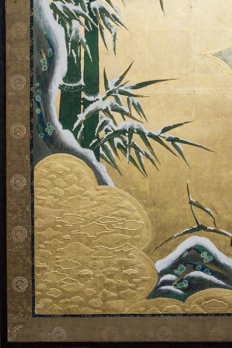 19th Century Edo Period Japanese Six Panel Screen Fall Into Winter For Sale